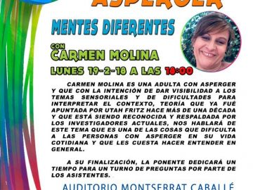 Charla con Carmen Molina sobre problemas sensoriales asociados al Síndrome de Asperger (Modificación de horario)